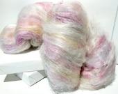 """fiber art batt, felting wool spinning fiber roving """"Tea and Cake"""" PHAT FIBER batt, texture, pastel:  pink green yellow white lavender blue"""