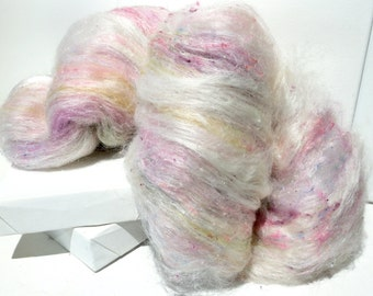 "fiber art batt, felting wool spinning fiber roving ""Tea and Cake"" PHAT FIBER batt, texture, pastel:  pink green yellow white lavender blue"
