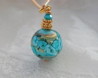 Venetian Murano Blue Fiorato Glass Necklace