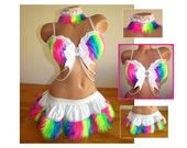 Rainbow Rave Outfit Bra, Skirt, Collar, White with UV Neon Rainbow Fur, EDC Outfit, RaveWear, Festival Wear, Burning Man Costume