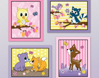 Set of Four Pink/Yellow/Purple Forest Animal Nursery Wall Art Prints. Made to Match Lola Fox. Cute! 3 sizes available!