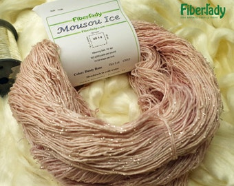 Pure Silver and Dusty Rose Bamboo Fingering Yarn