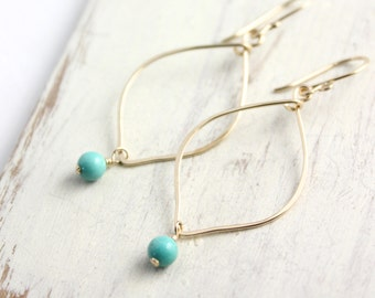 Turquoise and Gold Curved Hoop Earrings