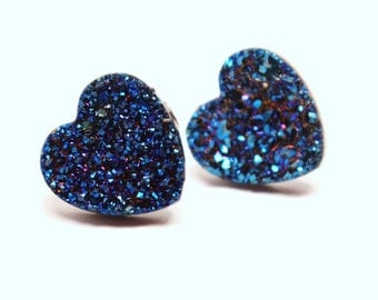 Blue Druzy Heart Stud Earrings Metallic Love Bold Genuine Titanium Drusy Quartz Gemstone Jewelry for Women Sterling Silver Posts Wedding
