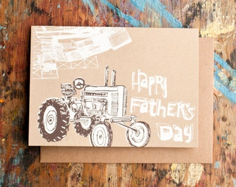 Happy Father's Day Tractor (FAT-01) Farmer Countryside Kraft Paper Blank Inside Screenprint