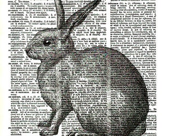 Bunny Rabbit Wildlife Nature Dictionary Art Print Facing Left Upcycled Art Paper Collage Supply Craft Supplies  paperink id: animal034