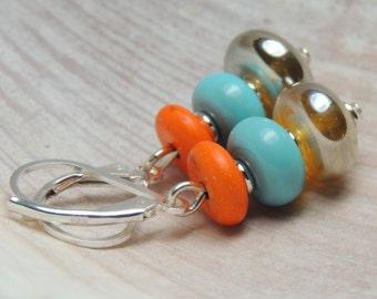ADVENTURER Handmade Lampwork Bead Dangle Earrings
