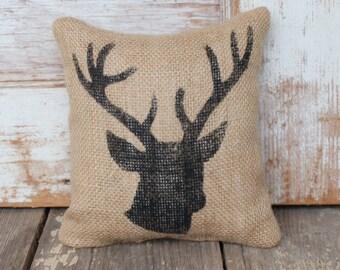 Woodland Deer  -  Burlap Feed Sack Doorstop - Deer Head - Stag Head - Deer Antlers - Door Stop