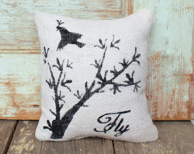 Fly -  Burlap Feed Sack Doorstop - Birds