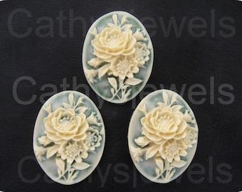 Three Victorian Floral Likeness Cameos