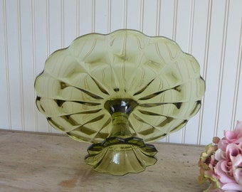 1960s Vintage Green Cake Stand