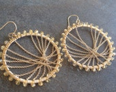 Citrine and free form chain hoop earrings.