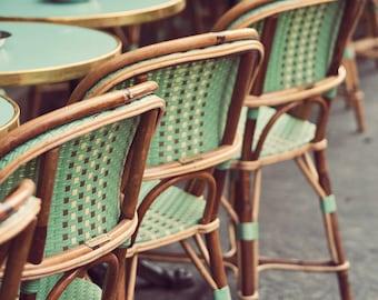 """Green Paris Bistro Chairs, Kitchen Decor, Paris Photography, Fine Art Print, French Home Decor, Paris Cafe, 8x10 """"Le Mint"""""""