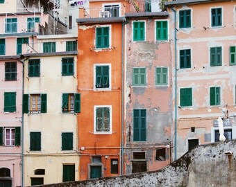 "Cinque Terre Art, Italy Photography, Riomaggiore Photo, Italian Village, Italian Houses, Travel Photography ""Crayon Box"""