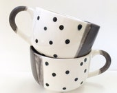 RESERVATION FOR ALBERT - 4 slate matte & black polka dot dip latte mugs - hand painted