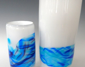 Large Sea and Sky Blue Band  Decorative Hand Blown Art Glass Vase by Rebecca Zhukov