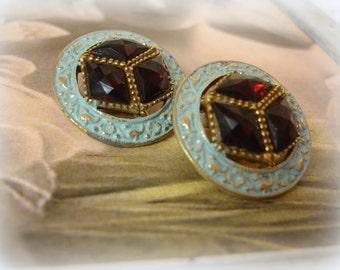 vintage schrager rhinestone earrings . fabulous mid century light blue enamel stunning garnet rhinestones