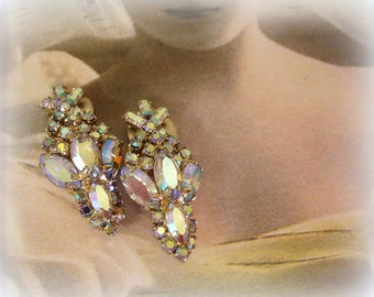 GORGEOUS vintage rhinestone earrings . prong set crystal ab navettes baguettes and rounds