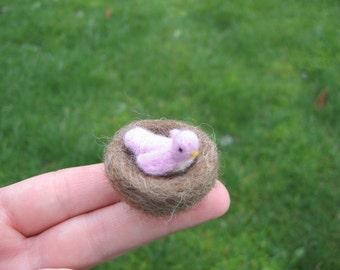 Needle Feletd Tiny Pink Bird With Nest Miniature Figurine