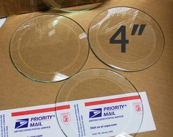 4 Pack of 4 Inch Clear Glass Circle Bevels FLAT on Back for Coasters (or memory pieces)