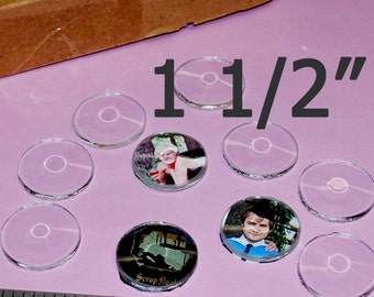 Box of 30 )( 1-1/2 Inch Circle Bevels, FLAT on back side, GREAT for Charms or Earrings - Round Solder Art Pendant GLASS