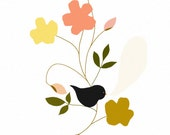 bird illustration - kitchen art print - bathroom artwork - dazeychic - floral drawing, floral bird print, studio mela - My Song To Sing