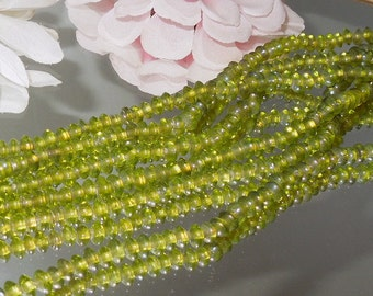 "Peridot Lime Luster/AB 3x5 Glass Rondells- 15"" Strand- Bastet's Beads-"