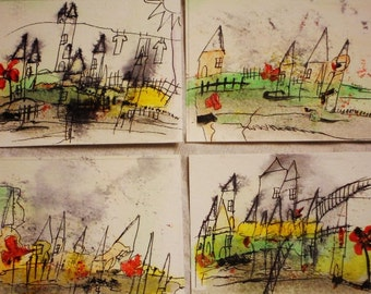 No. 7009, Set of 4 ACEO Art Cards