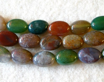 Indian Agate Beads 8x10mm Oval  (30)
