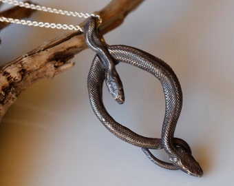 Snake jewelry, Double Snake Pendant, Unisex jewelry, Sterling silver serpent necklace,