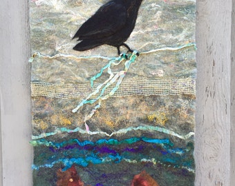 No.9 Crow Call - Wet Felted Wall Hanging