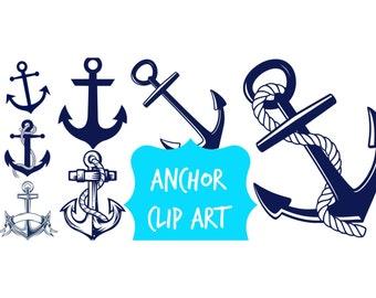ANCHOR clip art images - navy blue - Instant download digital clip art - 7 high resolution anchors