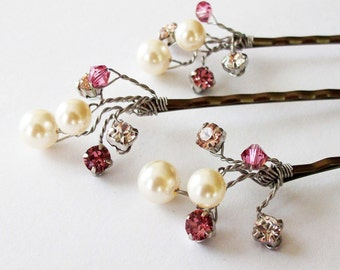 Wedding Hair Accessories,Choice of White or Cream Pearls and Swarovski Elements, Pearl Hair Clips, Dusty Rose Weddings, Hair Piece