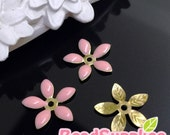 FG-EX-08001SP- Nickel Free, Lead Free, Color epoxy, 5-leaf beads cap, sakura pink, 6 pcs