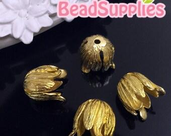 FG-FG-03117- Raw brass, Vintage style ruffled bead cap, 6  pcs