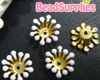 FG-EX-08003PP- Nickel Free, Raw Brass, Flower bud beadcap, pale pink, 12pcs
