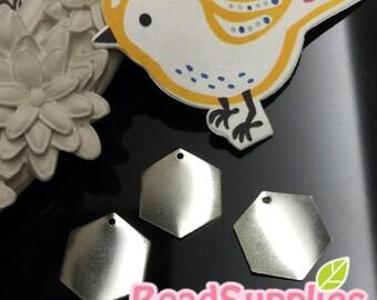 CH-ME-09327 - Silver plated,Hexagon charm, 6 pcs