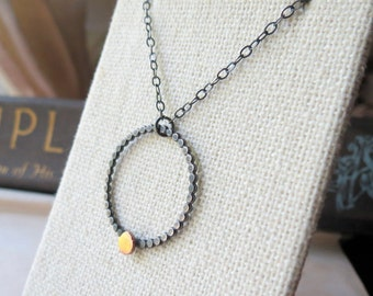 Oxidized Sterling Silver Eternity Circle Necklace with Hammered Rose Gold Dot  Clearance Sale