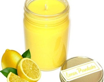 Lemon Pound Cake Scent Mason Jar Candle 12 Oz Handmade