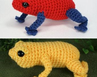 PDF Poison Dart Frog & Singing Frog - two amigurumi CROCHET PATTERNS