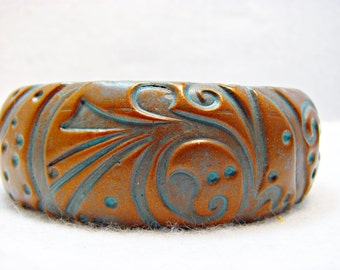 Swish and Swirl Faux Copper Patina Cuff Bracelet HHD0009-15