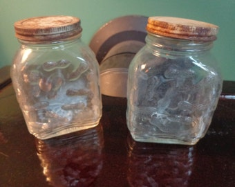 Two Vintage Peanut Jars Peanut Butter Containers Collectible Peanut ButterBottles