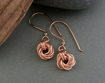 Handmade Rose Gold Love Knot Earrings