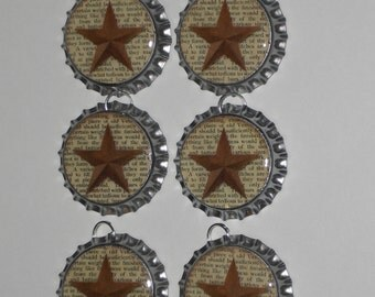 6 Primitive Miniature Rustic Country Barn Star Sealed 1 inch Silver Bottle Cap Charms Americana July 4 Bowl Fillers Ornies Favors