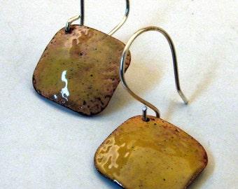 SUNSHINE YELLLOW Handmade Copper Enamel Earrings, Square Diamond Dangly Discs on Sterling Silver Wires, Happy Artisan Enamel Jewelry