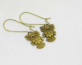 Ornate bronze wise owl charm dangle earrings, Popular, Modern, Statement jewelry, Lead and Nickel free, Choose your earwires