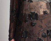 sheer silk floral bead sequin blouse / s / m / 015t