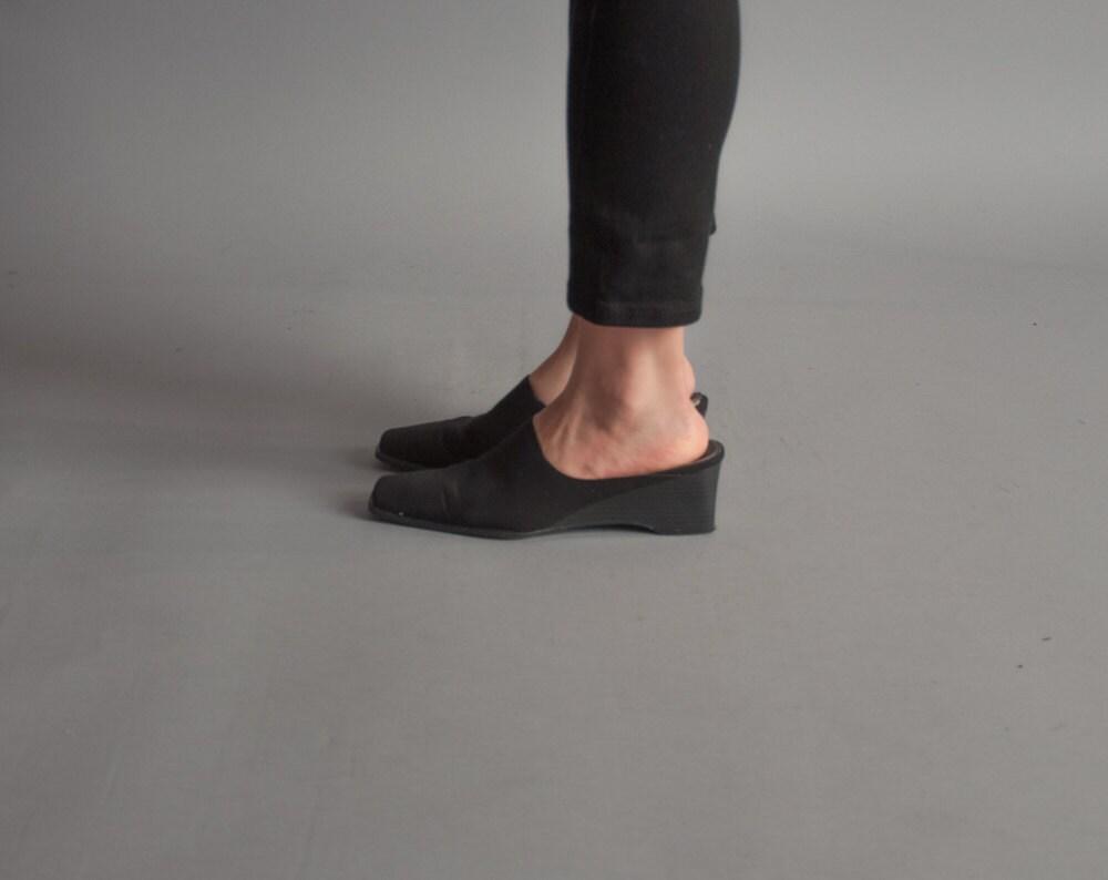 hesse black fabric wedge mules minimalist shoes vintage
