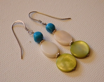 Sterling Silver Earrings - Turquoise, Shell - Valentines Day Gift