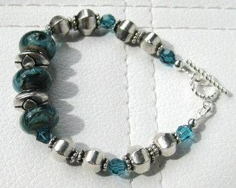 Teal Artisan Lampwork Bracelet
